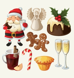 Set of festive food and decorations for christmas vector