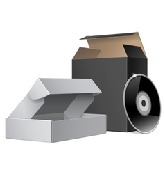 Two package box opened with dvd or cd disk for vector