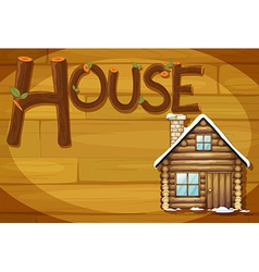 A wooden frame with a house vector