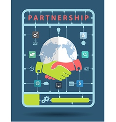 Partnership idea concept with business icons vector