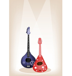 Two beautiful ukulele guitar on brown stage vector
