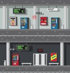 Flat design of underground subway vector
