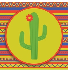 Cactus on patterned background vector
