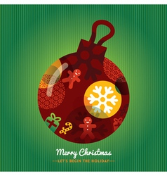 Christmas ornament with lettering green background vector