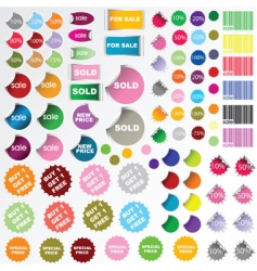 Set of sale stickers vector