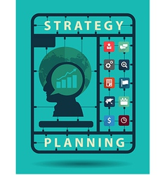 Strategy planning idea concept with business flat vector