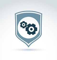 Gears and cogs system theme icon with protection vector