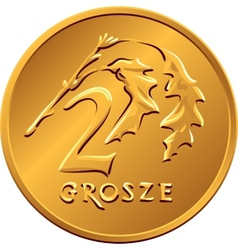 Reverse polish money two groszy copper coin vector