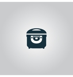 Electric cooker icon on gray background vector