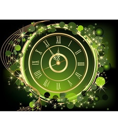 Gold happy new year background with clock vector