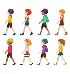 Faceless teenagers walking vector