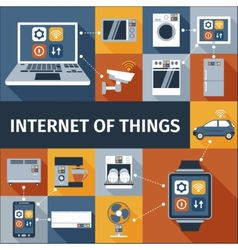 Internet of things flat icons composition vector