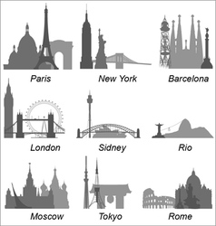 World cities landmarks vector