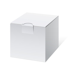 Cool realistic white package cube box for software vector