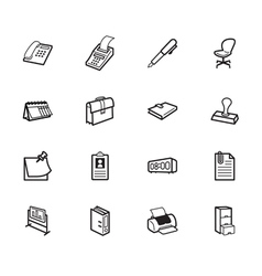 Office element black icon set on white background vector