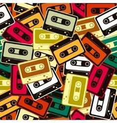 Cassettes seamless pattern in retro style vector
