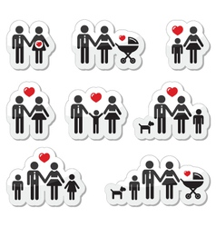 People icons - family baby pregnant woman coupl vector