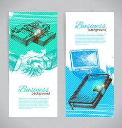 Banner set of hand drawn business backgrounds vector