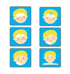 Child fever icon set vector