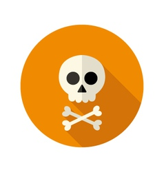 Halloween skull flat circle icon vector