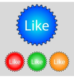 Like sign icon set of colored buttons vector