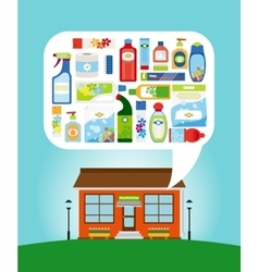 Shop with household chemicals vector