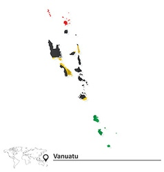 Map of vanuatu with flag vector
