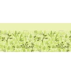 Paint textured green plants horizontal seamless vector