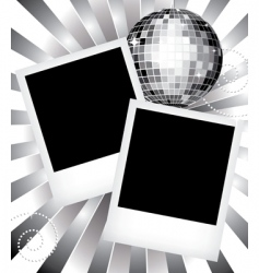 Vintage frames with disco ball vector