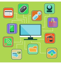 Flat design set with web computer mobile icons vector