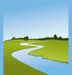 Rural landscape with river vector