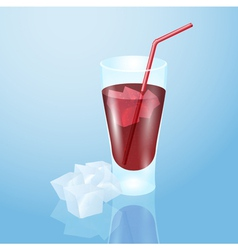 Glass of juice with ice vector