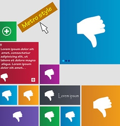 Dislike thumb down icon sign metro style buttons vector