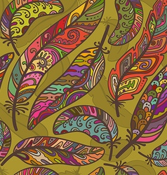 Seamless pattern of colorful ornamental bird vector