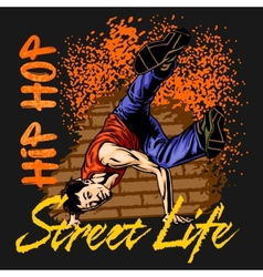 Hip hop dancer on grunge background vector