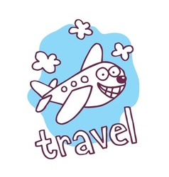 Cute cartoon airplane mascot vector