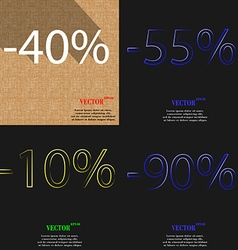 55 10 90 icon set of percent discount on abstract vector