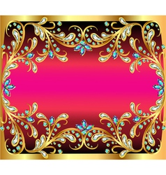 Background with precious stones gold pattern and t vector
