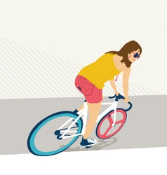 Young woman with fixie bicycle vector