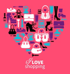 Shopping heart vector
