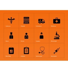 Hospital icons on orange background vector