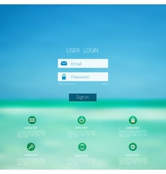 Login form page with blurred background web site vector