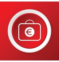 Euro case icon on red vector