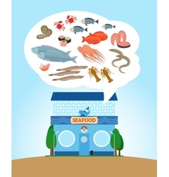 Seafood store vector