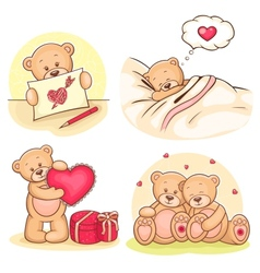 Valentine teddy bears collection vector
