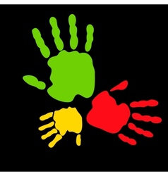 Colorful hand prints vector