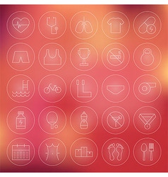 Sport and healthy lifestyle circle line icons set vector