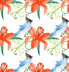 Watercolor lily and bird in vintage style vector