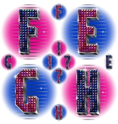 Volume letters efgh with shiny rhinestones vector