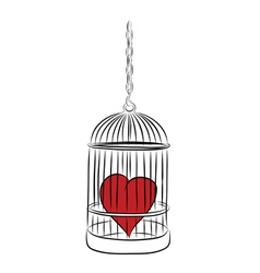 Cage with red heart vector